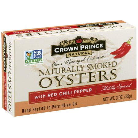 (2 Pack) Crown Prince Natural Smoked Oysters With Red Chili Pepper, 3 oz