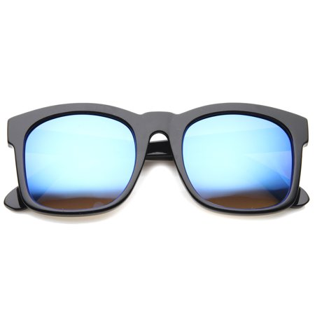 sunglassLA - Mod Fashion Oversized Bold Frame Flash Mirror Horn Rimmed Sunglasses - 61mm (Optik Frames)