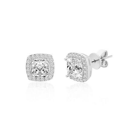 Genuine Asscher Cut Cubic Zirconia Square Stud Earring in Sterling Silver
