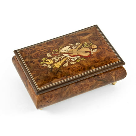 Charming 30 Note Hand Made Walnut Instrument Theme Wood Inlay Music Box - Canon in D