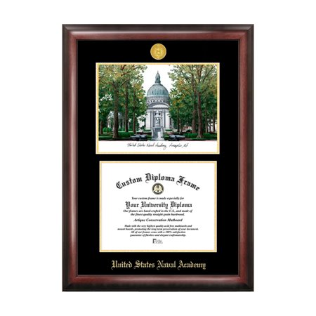 Campus Images Sports Team Logo Design United States Naval Academy Gold Embossed Diploma Frame With Campus Images Lithograph