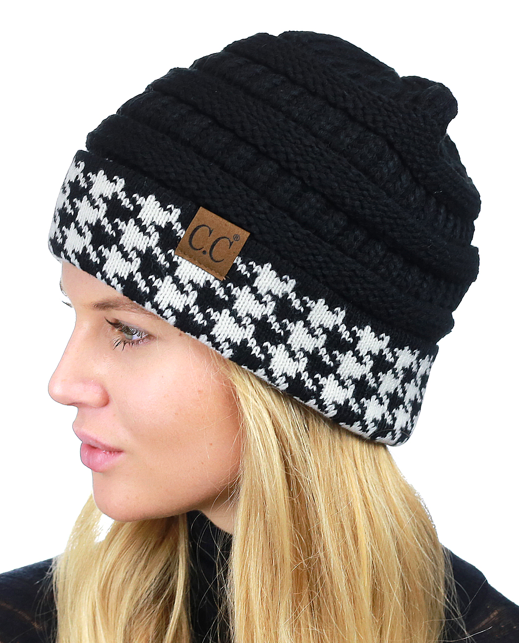 C.C Cable Knit Soft Stretch Multicolor Stitch Cuff Skully Beanie Hat ... 39f179441df