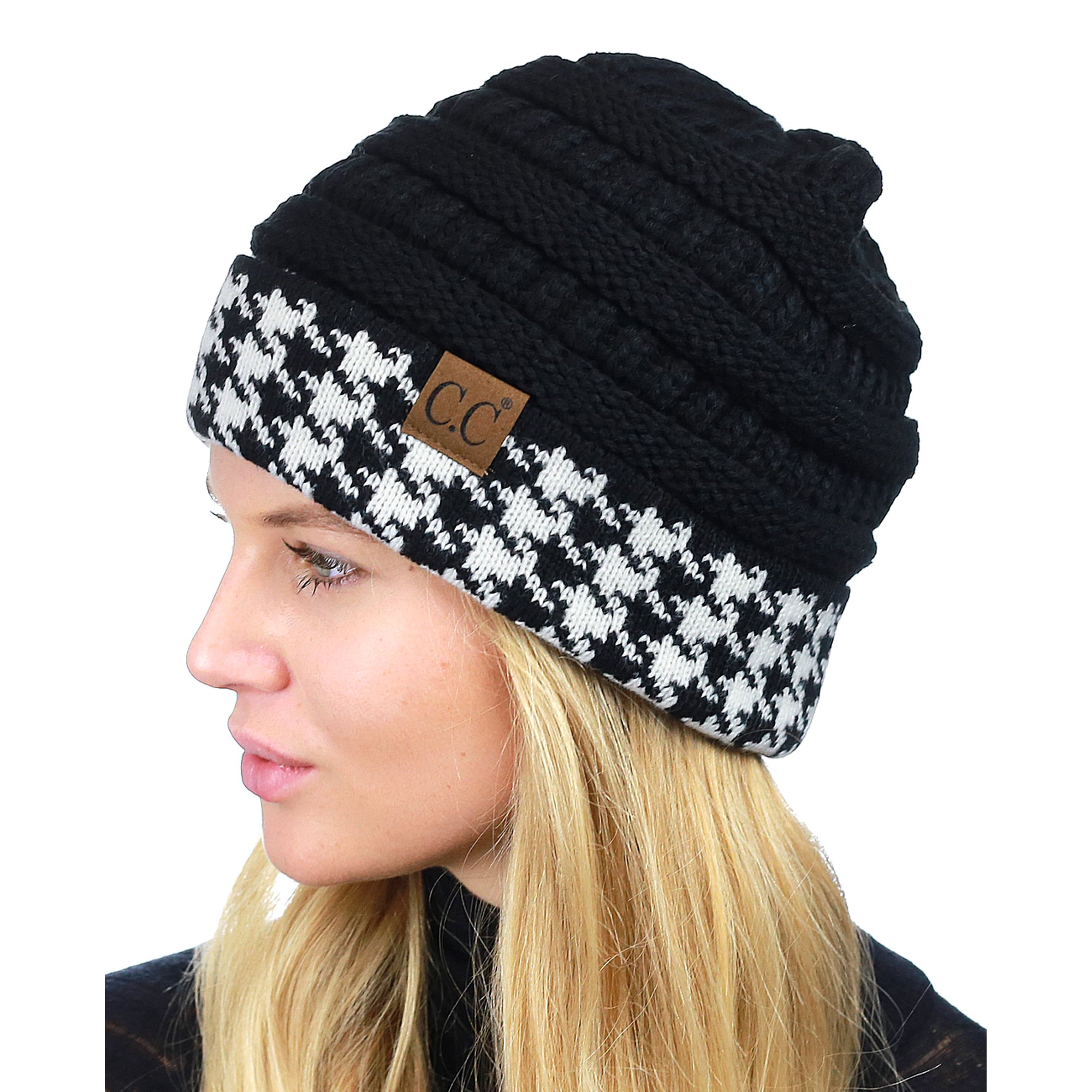 497819f5963 C.C Cable Knit Soft Stretch Multicolor Stitch Cuff Skully Beanie Hat ...