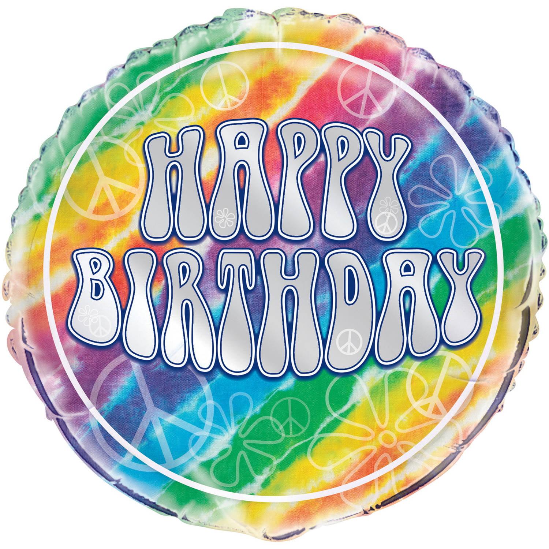 "Foil Rainbow Tie Dye Balloon, 18"""