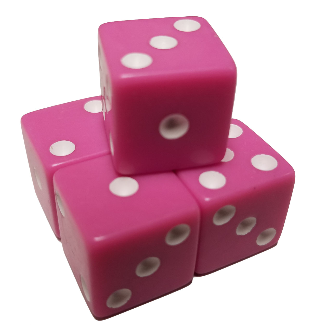 Set of 5 Pastel Purple Pink Color 6 Sided Dice Square Corner White Pips 16mm in Snow Organza Bag