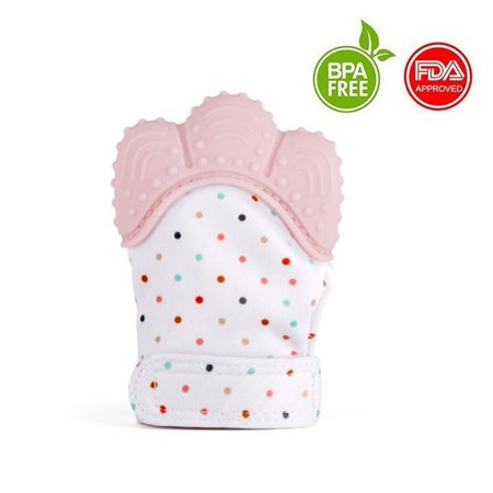 Baby Teething Mitten Self Soothing Teether & Teething Pain Relief Toy, Prevent Scratches Glove Stay on Babys Hand, for 0-6 months Baby Girl (Fun Ice Soothing Ring Teether)