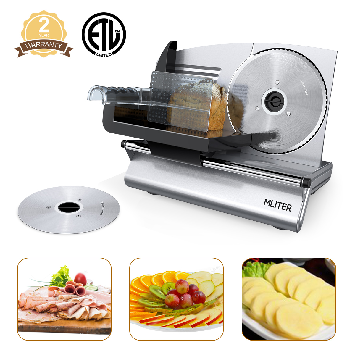 "Mliter FS-9001A Professional Electric Power Food & Meat Slicer with Removable 7.5"" Stainless steel Blade"