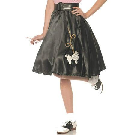 Black Satin Womens Adult Costume 50S Sock Hop Poodle Skirt