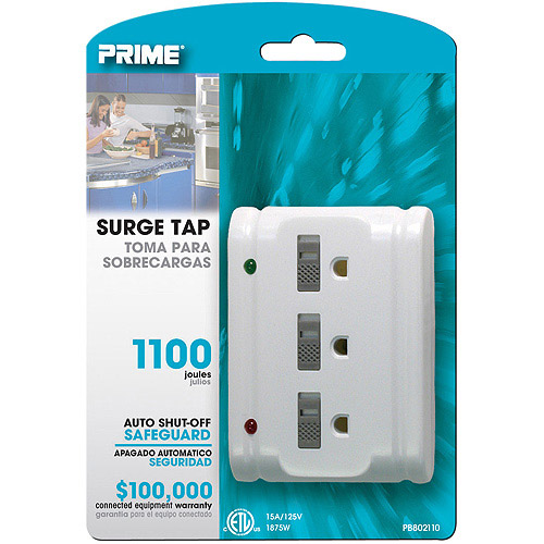 Prime 3 Outlet 1100-Joule Surge Tap, Auto Shut Down, White