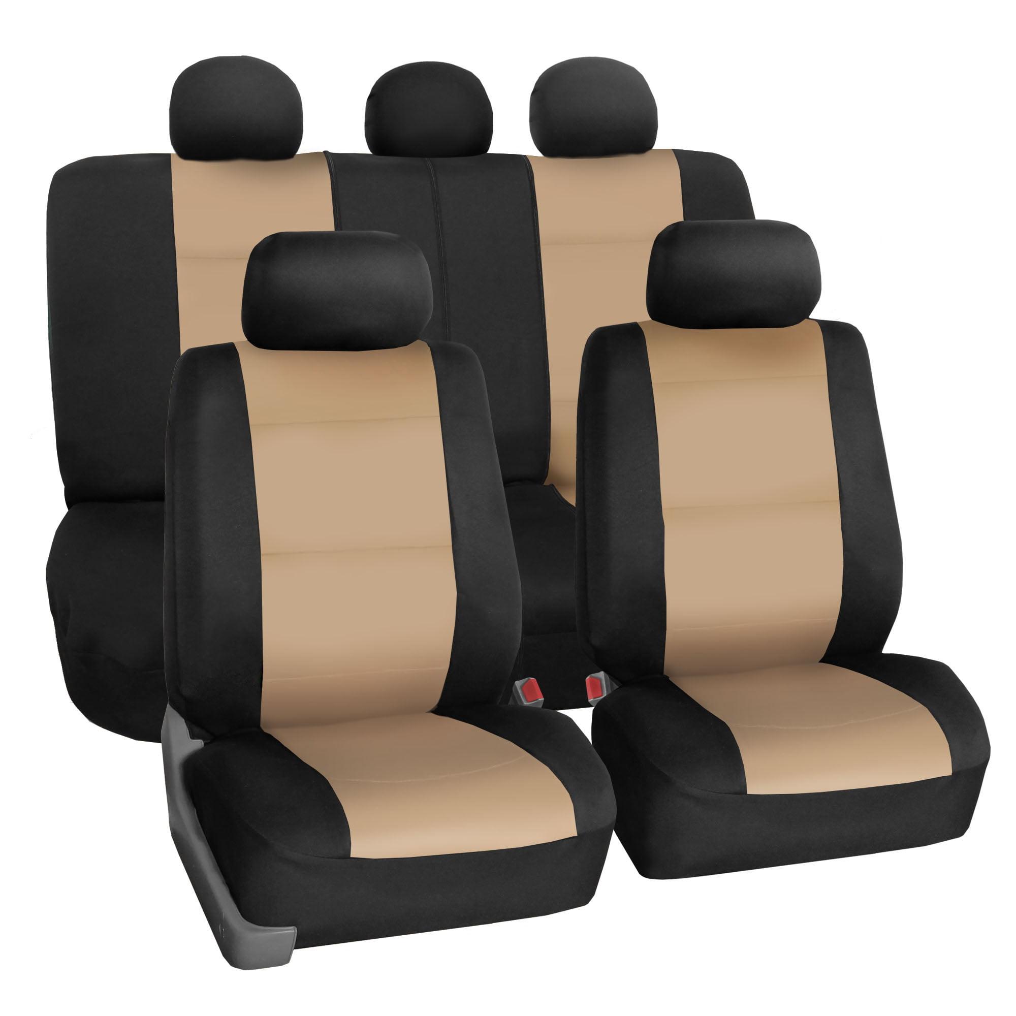 FH Group Neoprene Waterproof Full Set Car Seat Covers Airbag Ready & Split Bench Function, Beige