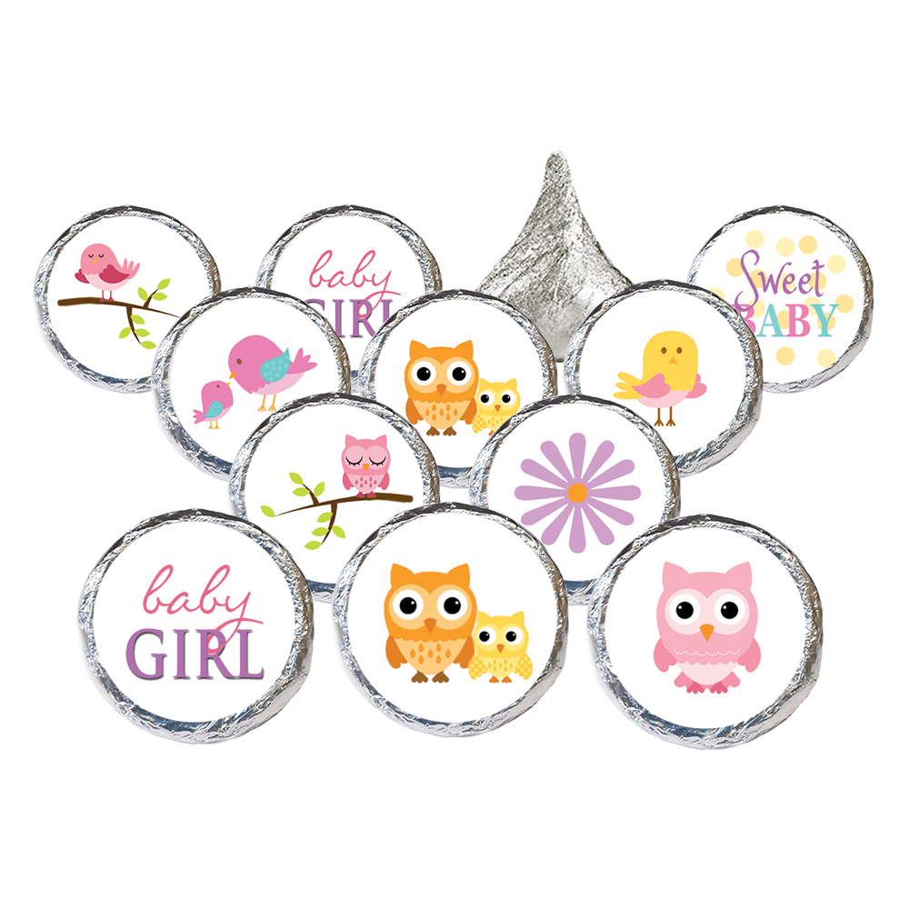 Owl Baby Shower Decoration Stickers 324ct - Owl Baby Shower Candy Favors Its a Girl Owl Baby Shower Decorations Supplies - 324 Count Stickers