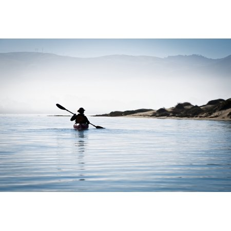California Morro Bay State Park Woman Kayaking In Ocean Silhouette Rolled Canvas Art