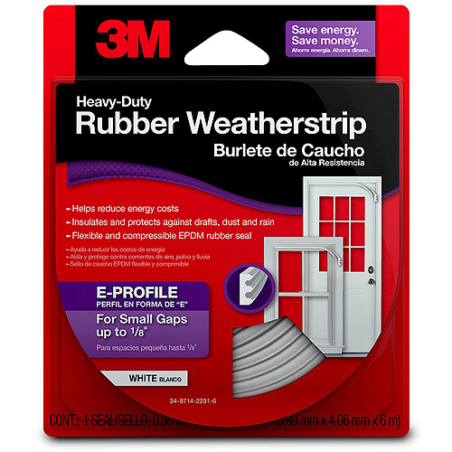"3M Heavy-Duty Rubber Weatherstrip, 0.35"" x 19.7'"