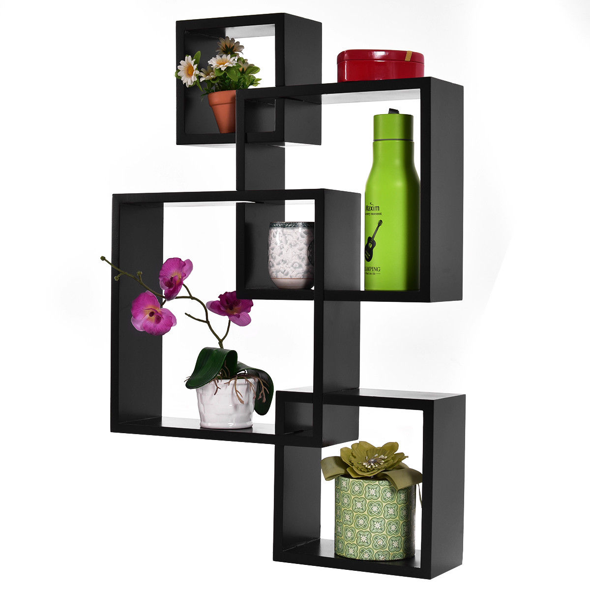 Costway Black Intersecting 4 Square Floating Shelf Wall Mounted Home Furniture Decor
