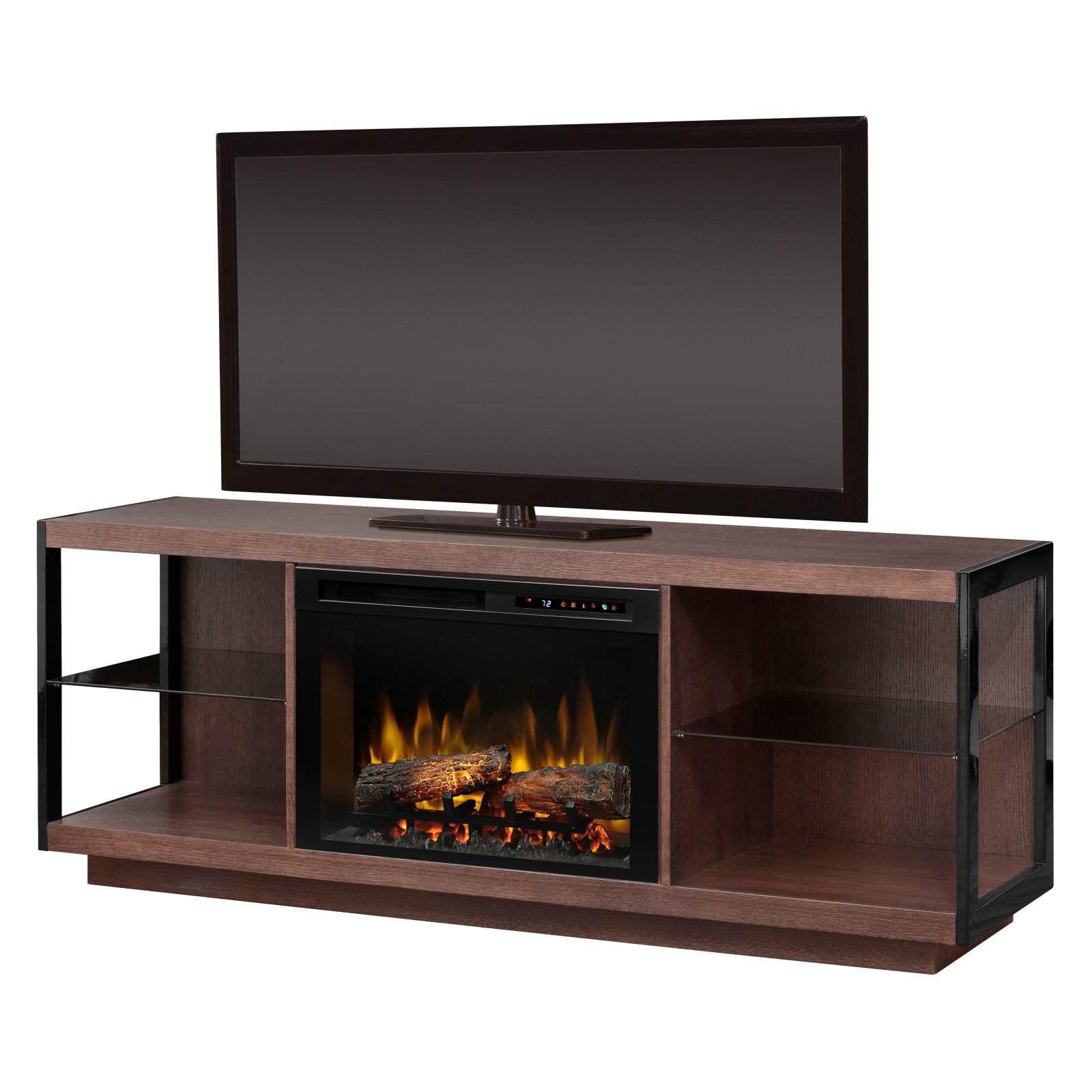 """Dimplex Leif Media Console Electric Fireplace With Acrylic Ember Bed for TVs up to 65"""", Turbinado Brown"""