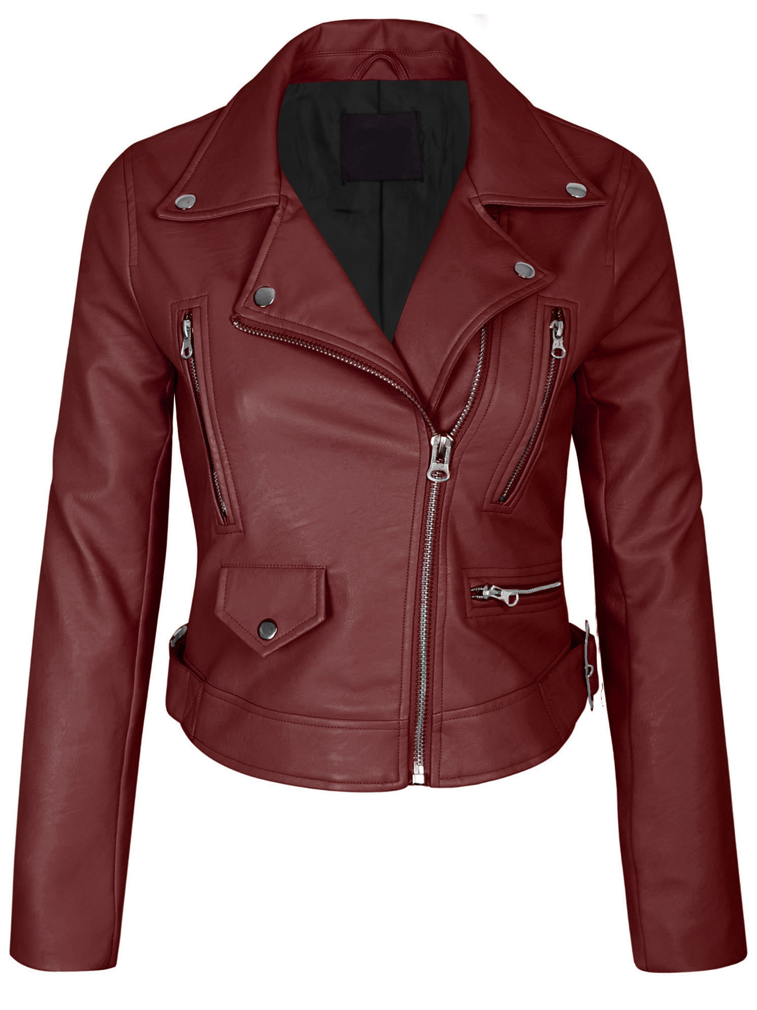 KOGMO Womens Double Breasted Faux Leather Zip Up  Jacket