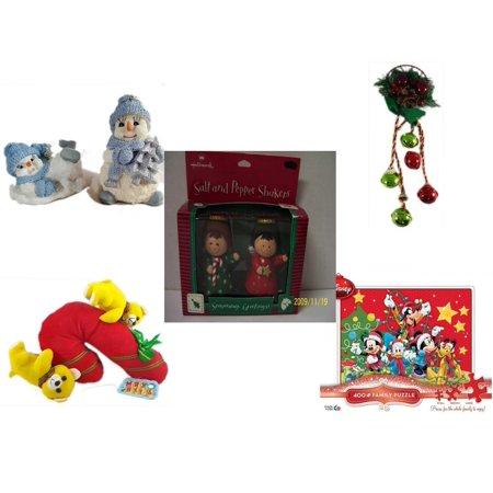 Christmas Fun Gift Bundle [5 Piece] - 1998 Encore Group Snowman Ornaments Set - Festive Holly Berry & Pinecone Door Knob Jingler - Hallmark Seasons Greetings Salt and Pepper Shaker
