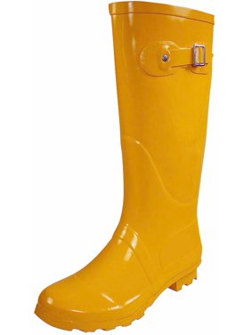 Norty Womens Rain Boots - Ladies Hurricane Wellies - 14+ Solids and Prints - Choose Glossy Waterproof or Matte Finish Hi-Calf Rainboots - Natural Rubber with Long Shaft for Maximum Splash Protection