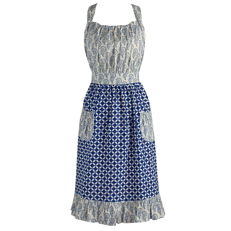 """DII Blue & White Prints Vintage Kitchen Apron, 18""""x35"""", 100% Cotton, Multiple Colors/Patterns"""