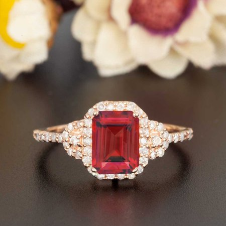 1.25 Carat Emerald Cut Real Ruby and Diamond Engagement Ring in 18k Gold Over Sterling