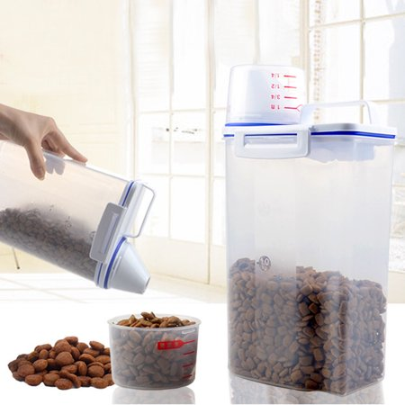 4.4LB Plastic Pet Food Storage Container Dog Cat Dry Food Dispenser With Cup Pet Supplies Home (Dog Food Storage Dispenser)