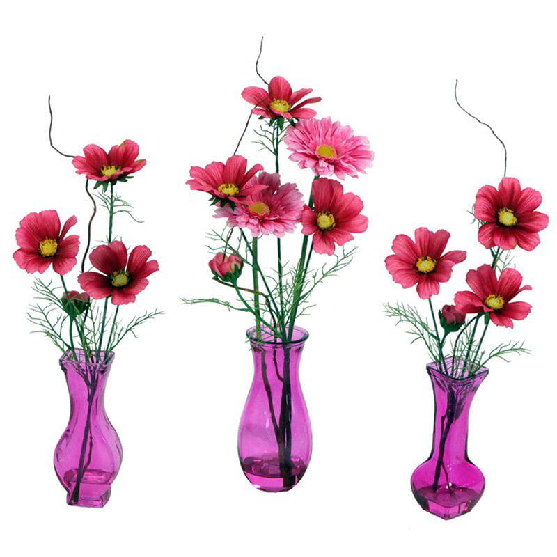 "Vickerman 21"" Pink Spring Mix in Pink Assorted Vases, 3 per Set"