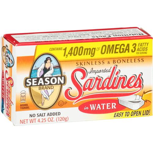 Season Skinless & Boneless Sardines in Water, 4.25 oz, (Pack of 12)
