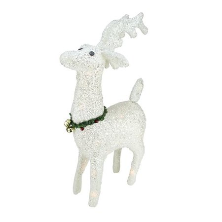Reindeer Car Decoration (Northlight Seasonal Lighted White Plush Glittered Reindeer Christmas)