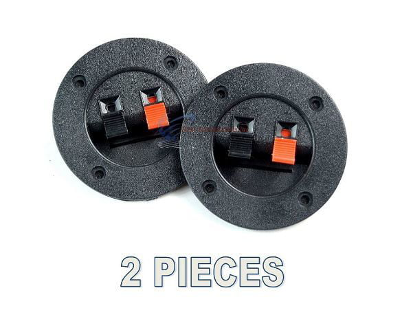 2 PCS Audiopipe Round Push Spring Terminal Cup Connector Speaker Subwoofer