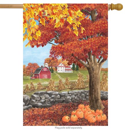 Autumn Day Scene House Flag Farm Fall Leaves 28