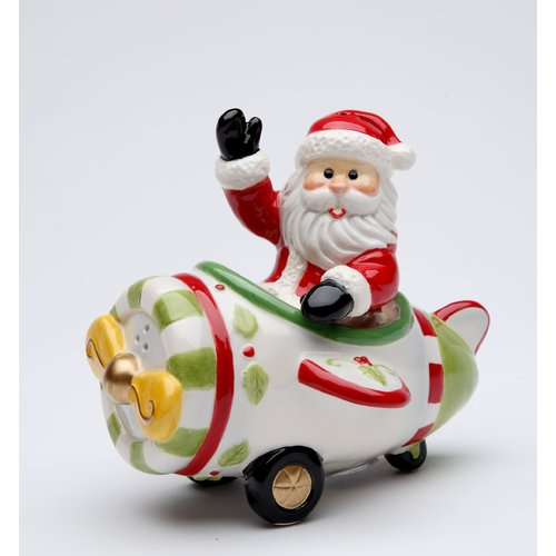 Cosmos Gifts Santa Flying on The Plane Salt and Pepper Set by Cosmos Gifts Corporation