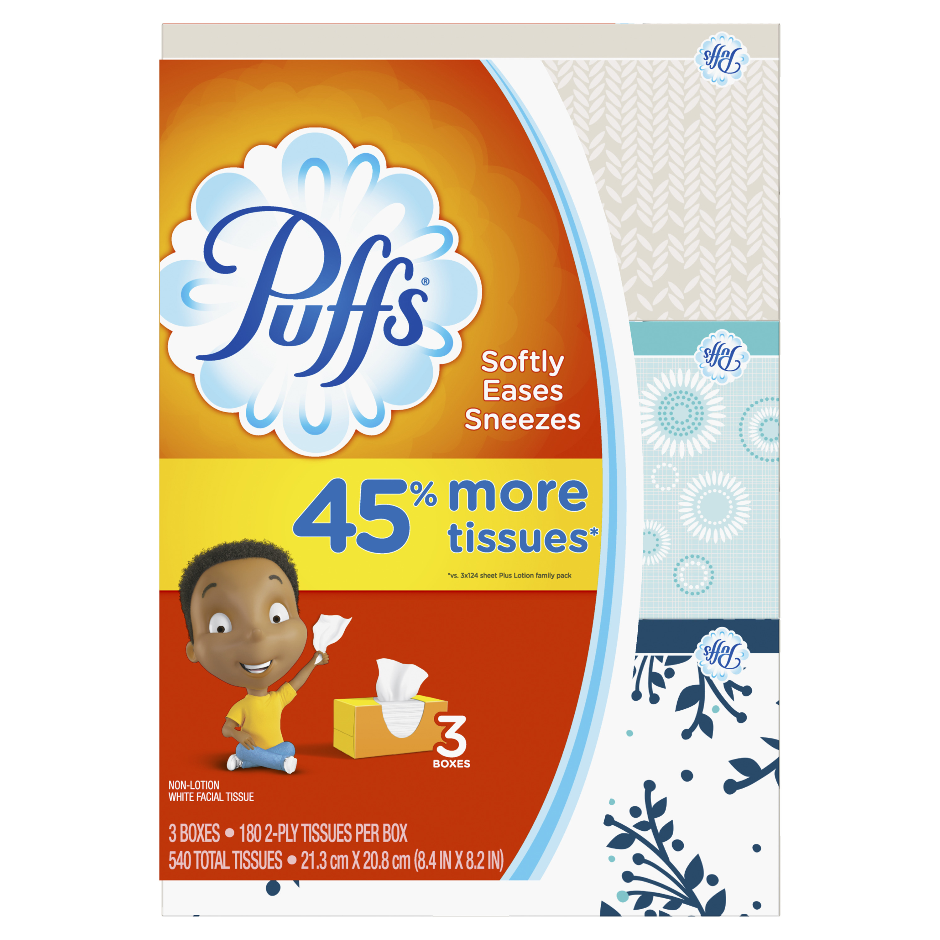 Puffs, Everyday Non-Lotion Facial Tissue, 3 Family Boxes, 540 Tissues