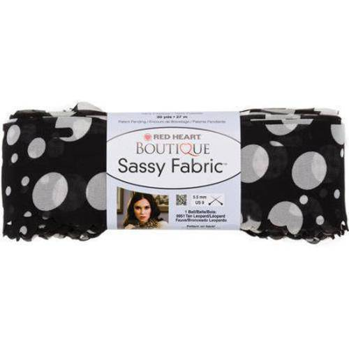 Red Heart Boutique Sassy Fabric Yarn, Black Dot