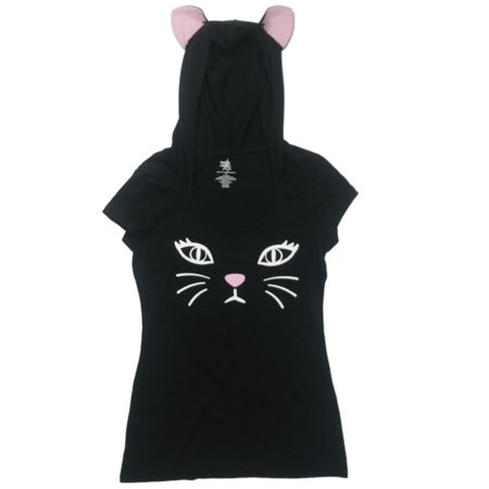 Rainbow Loom Halloween Cat (Junior Womens Black & White Kitty Cat Halloween Tee Shirt Hooded Kitten)