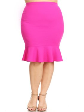 23e697e04 Product Image MOA COLLECTION Women's Plus Size Solid Casual Elastic  Waistband Ruffle Work Pencil Skirts/Made in