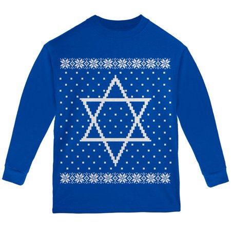 Big Star of David Ugly Hanukkah Sweater Youth Long Sleeve T Shirt