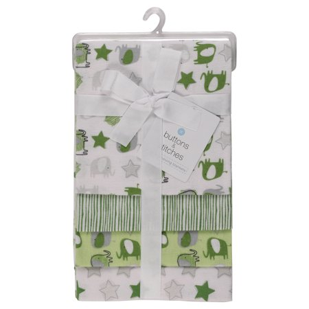 Stitched Elephant (Buttons and Stitches 4 PK Laddered Blankets - Elephant and)