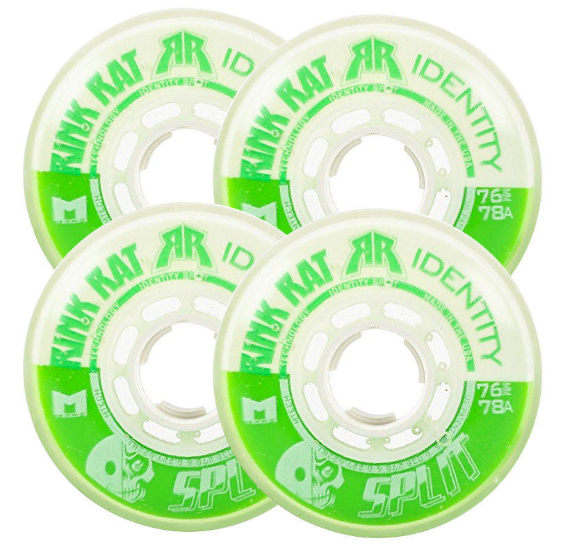 RINK RAT Wheels 72mm 78a IDENTITY SPLIT 4-Pack Green White Inline Indoor Hockey by Rink Rat