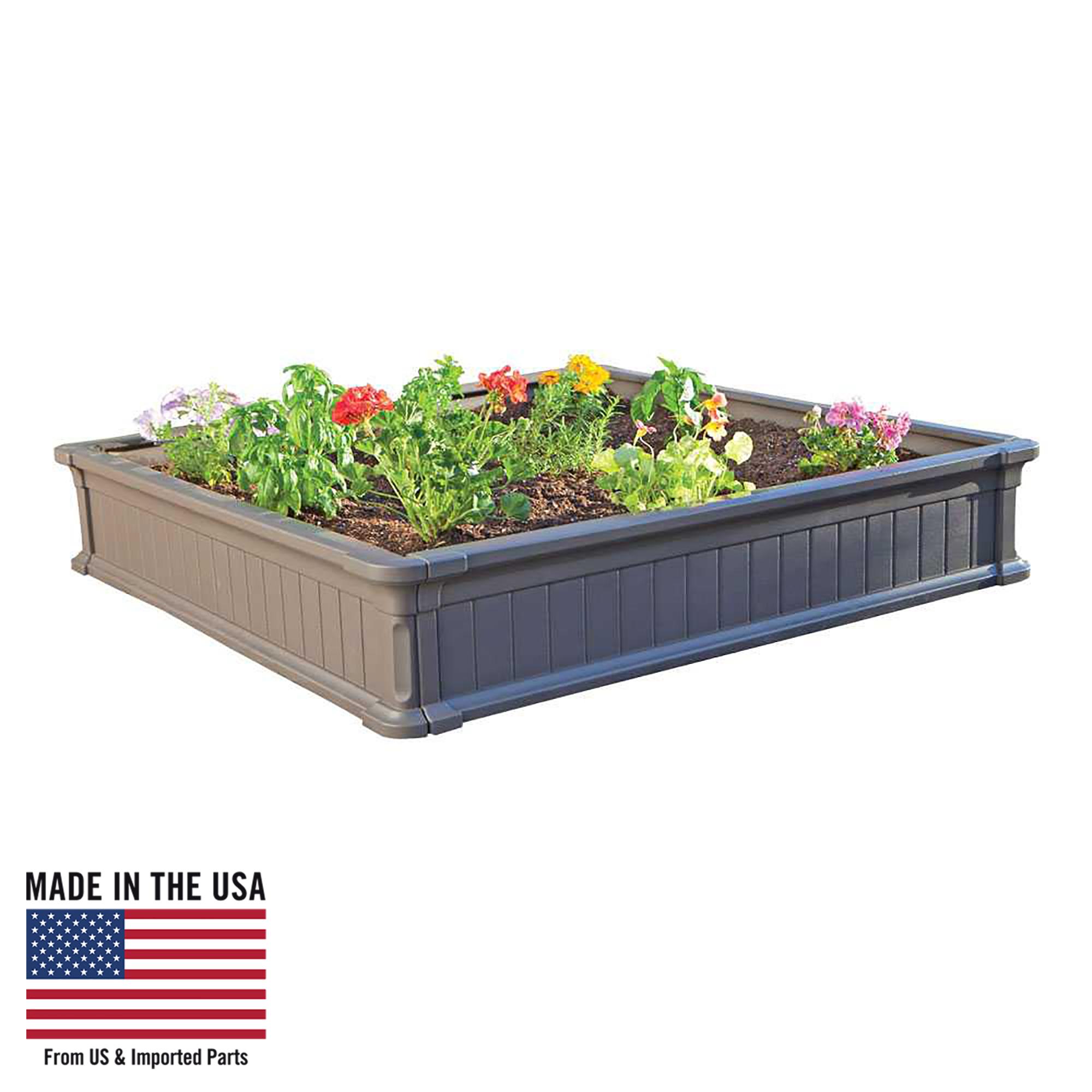 Lifetime 4 ft x 4 ft Raised Garden Bed, Brown, 60065