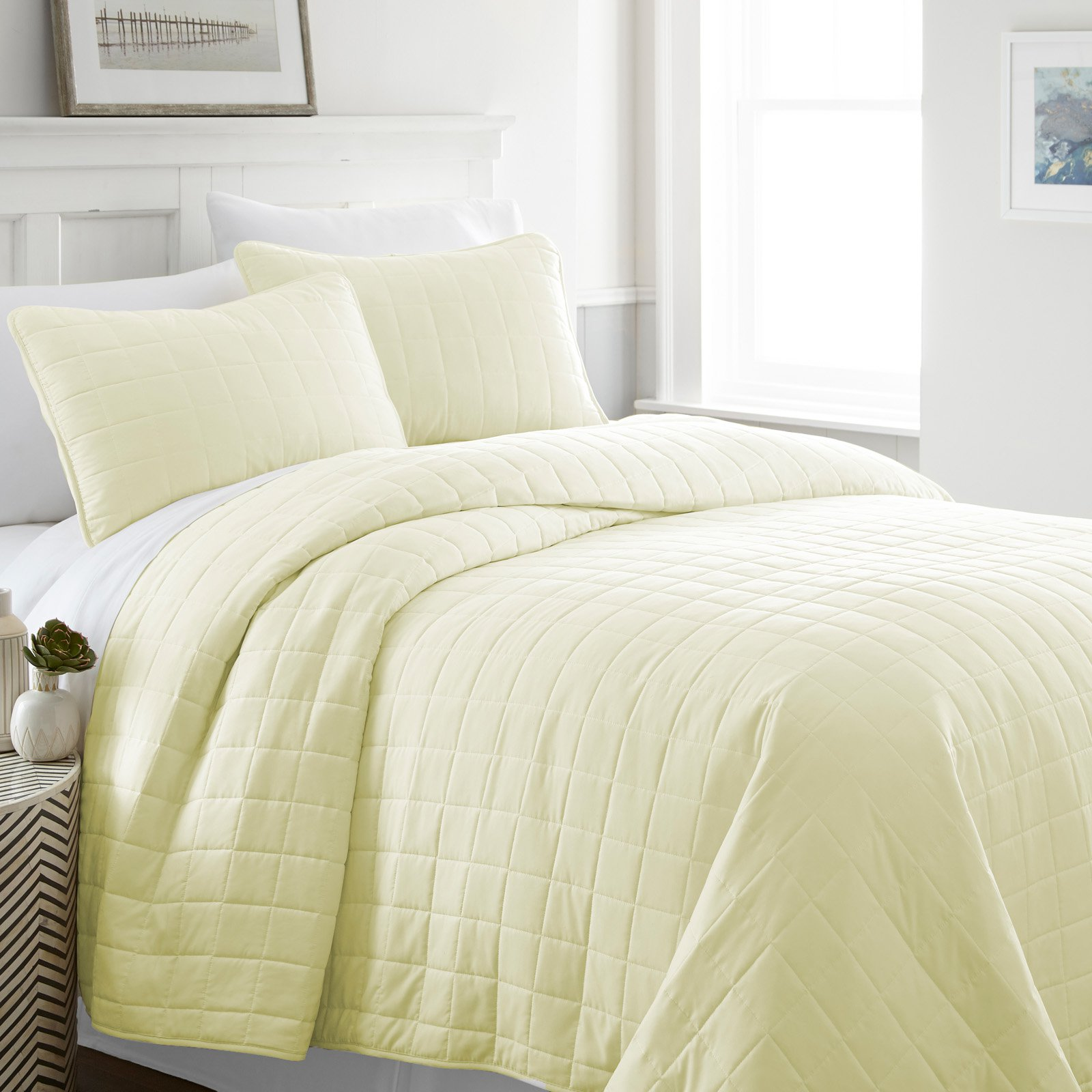 Block Quilted Coverlet Set by Noble Linens