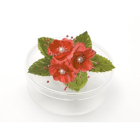 3 Clear Round Cookie Nut Candy Boxes w/ Pearl Satin Organza Flower - Mint • Container material is Plastic • Clear round cookie nut candy boxes are 4.5