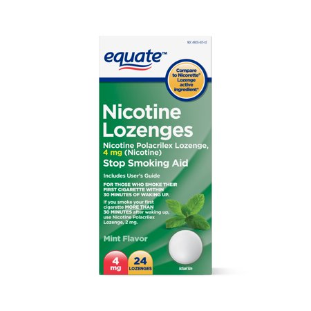 4 Mg Nicotine Lozenges - Equate Nicotine Lozenges, Mint Flavor, 4 mg, 24 Count