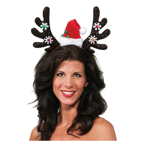 Santa Hat With Antlers (Christmas Reindeer Light Up Antlers With Santa Hat Headband, 5.5