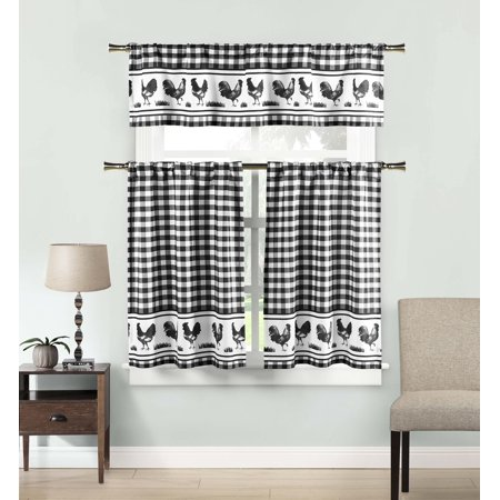 Black 3 Piece Window Curtain Set: Gingham Check and Rooster Design, Cafe/Tiers