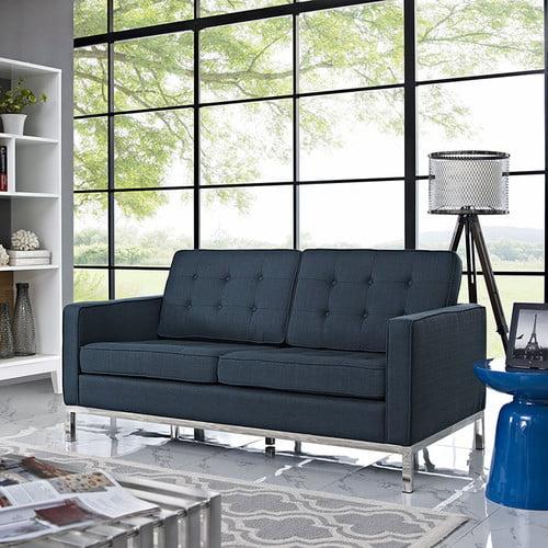 LexMod Loft Fabric Loveseat, Azure [Azure]