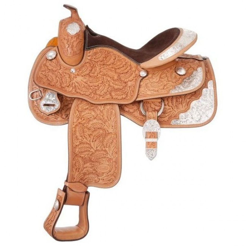 "Silver Royal Saddle Western Premium Royal Oak V Trim 15"" Light SR8735V1"
