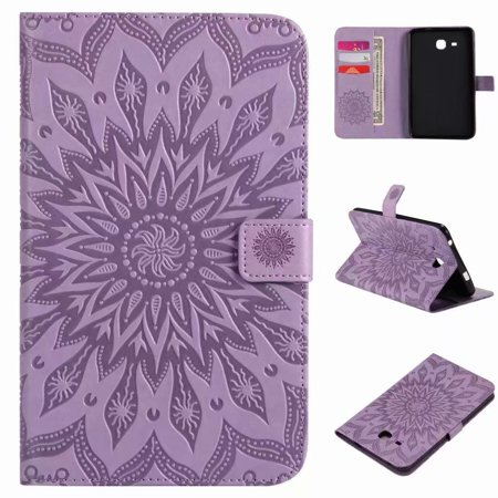 For Samsung Galaxy Tab A 7.0 T280 Sunflower Embossed PU Leather Flip Stand Case Auto Wake/Sleep Smart Cover