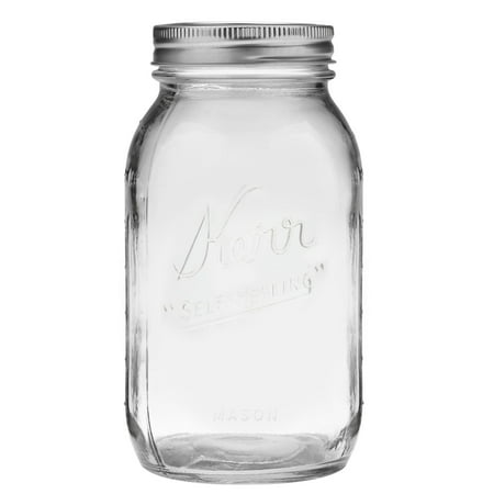 Large Mason Jars (Kerr Regular Mouth Quart Glass Mason Jars with Lids and Bands, 32 oz., 12)