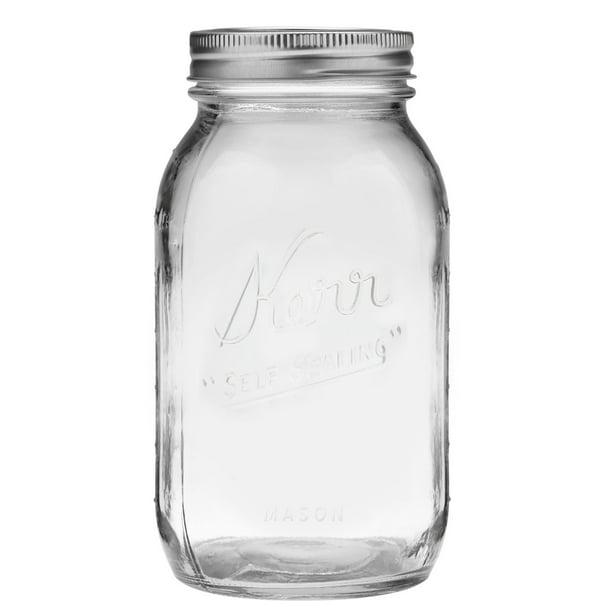 Kerr Glass Mason Jar W/ Lid & Band, Regular Mouth, 32 Ounces, 12 Count - Walmart.com - Walmart.com
