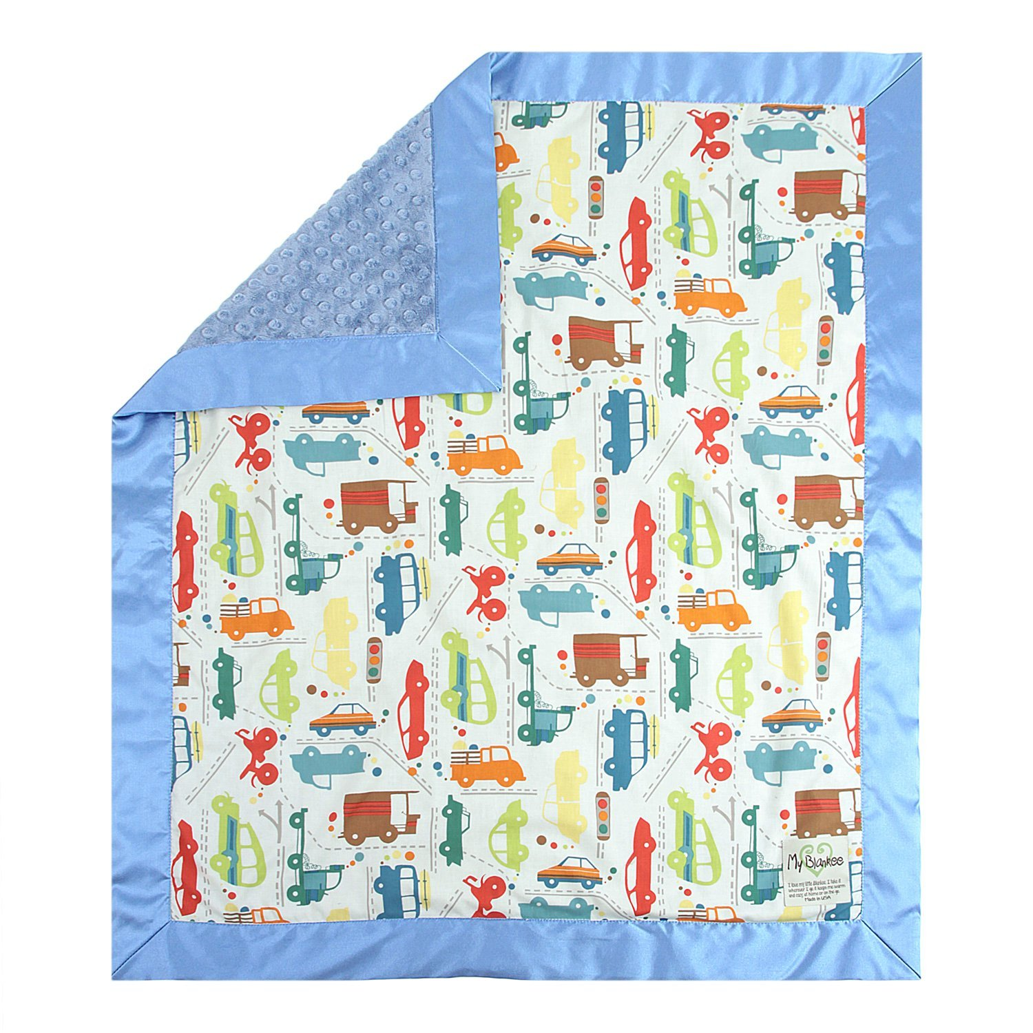 My Blankee Beep Beep White Cotton Blanket with Minky Dot,...
